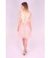 Rochie roz cu bust buretat si cu insertii florale  - 3