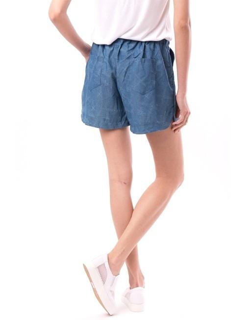 Pantaloni scurti albastri cu imprimeu si snur