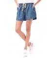 Pantaloni scurti albastri cu imprimeu si snur  - 3