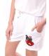Pantaloni scurti albi cu o broderie colorata  - 1
