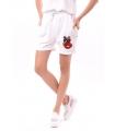 Pantaloni scurti albi cu o broderie colorata  - 3