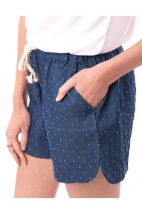 Pantaloni scurti bleumarin cu buline imprimate si snur alb  - 1