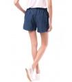 Pantaloni scurti bleumarin cu buline imprimate si snur alb  - 2