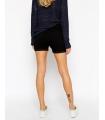 Pantaloni scurti negru elastici cu talie medie  - 3