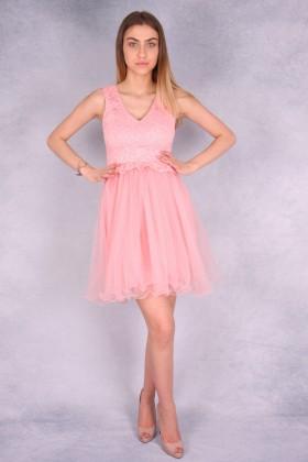Rochie roz in forma de clopot cu bust buretat  - 1