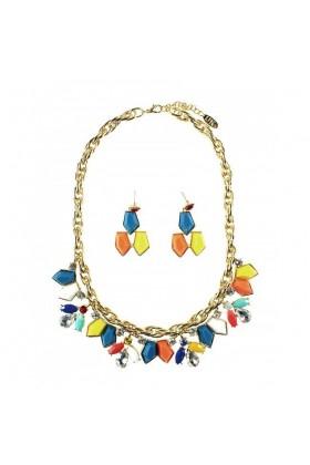 Colier auriu si Cercei cu pietre colorate  - 2