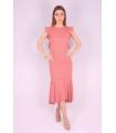 Rochie de seara cu spatele gol de culoare roz  - 1