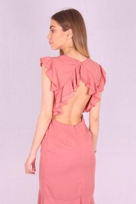 Rochie de seara cu spatele gol de culoare roz  - 3