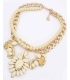 Colier elegant auriu cu pietre crem  - 2