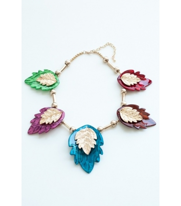 Colier cu frunze colorate  - 3