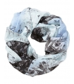 Esarfa tubulara albastra cu imprimeu  - 4