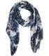 Esarfa alba cu imprimeu floral albastru  - 4