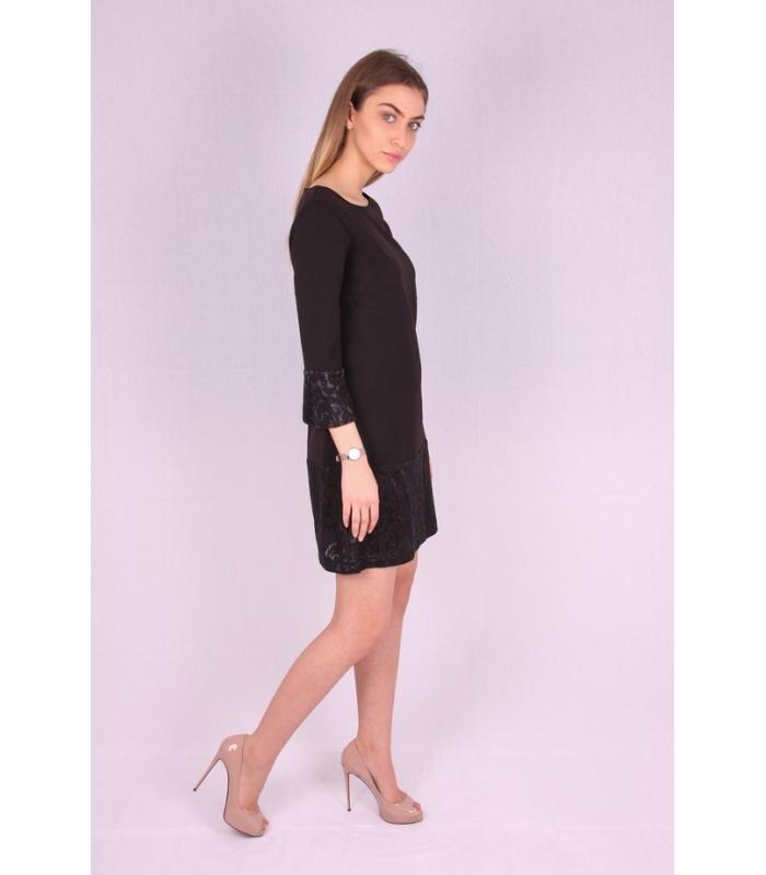 Rochie de seara neagra cu mansete brodate  - 1