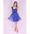 Rochie albastra baby doll cu paiete  - 1