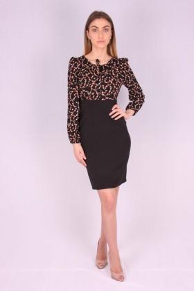 Rochie neagra cu model floral  - 2