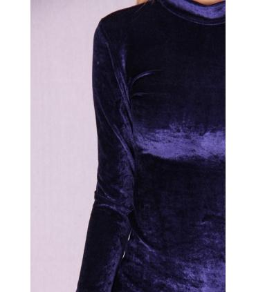 Rochie de catifea albastra mulata pe corp  - 2