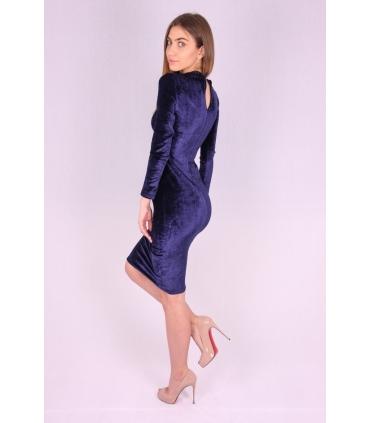 Rochie de catifea albastra mulata pe corp  - 4