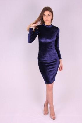 Rochie de catifea albastra mulata pe corp  - 5