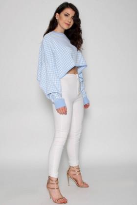 Pulover crop-top alb cu imprimeu albastru deschis  - 2