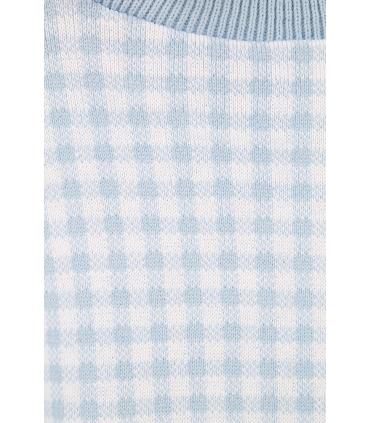 Pulover crop-top alb cu imprimeu albastru deschis  - 5