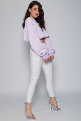 Pulover scurt alb cu imprimeu mov deschis  - 7