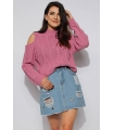 Pulover tricotat roz pudrat cu umerii goi  - 1