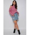 Pulover tricotat roz pudrat cu umerii goi  - 3