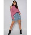 Pulover tricotat roz pudrat cu umerii goi  - 4