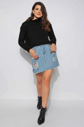 Pulover negru crop-top tricotat  - 3