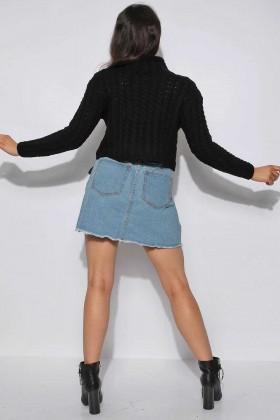Pulover negru crop-top tricotat  - 4