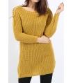 Pulover tricotat de culoare mustar cu impletituri pe umeri  - 1