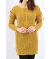 Pulover tricotat de culoare mustar cu impletituri pe umeri  - 3