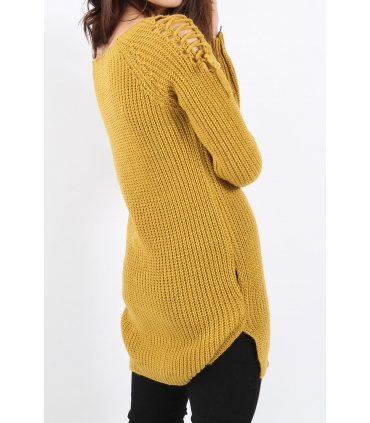 Pulover tricotat de culoare mustar cu impletituri pe umeri  - 4
