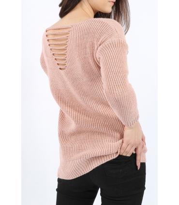 Pulover Roz Pudrat tricotat, decupat pe spate  - 2