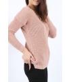 Pulover Roz Pudrat tricotat, decupat pe spate  - 3
