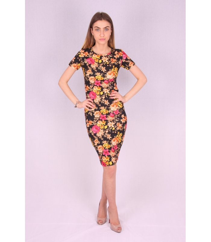Rochie mulata model floral galben  - 1