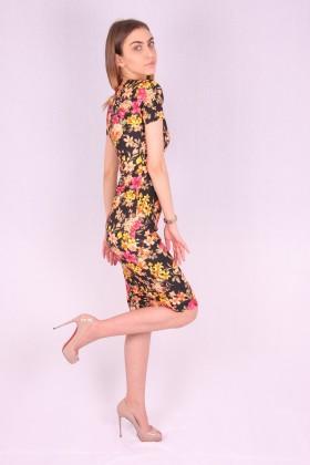 Rochie mulata model floral galben  - 2
