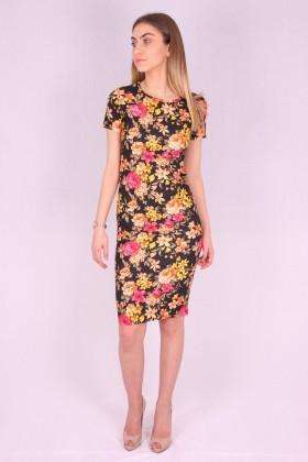 Rochie mulata model floral galben  - 5