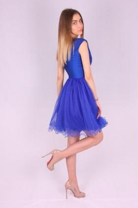 Rochie albastra baby doll cu bust buretat si brodat  - 4