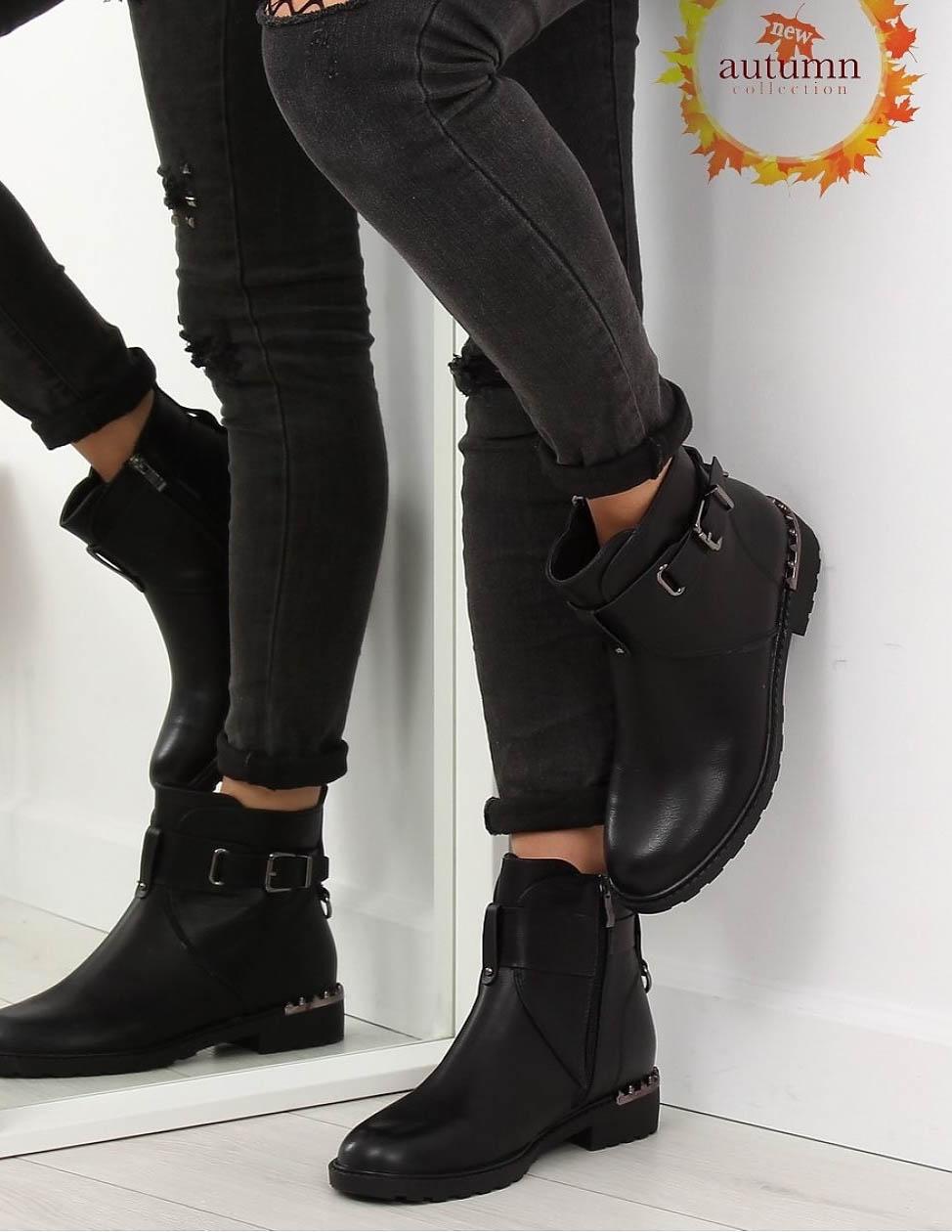 pe picioare la pantofi cei mai buni vânzări speciale Ghete Simple Negre din Piele Ecologica cu Tinte Mici