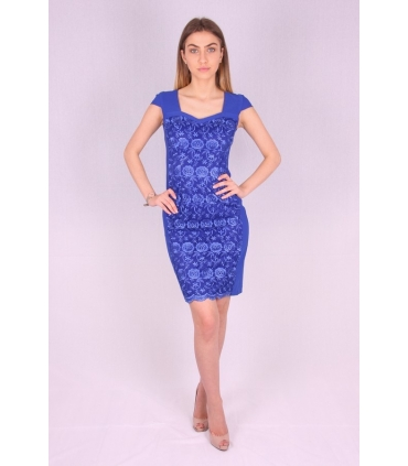 Rochie albastra cu model brodat  - 2