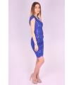 Rochie albastra cu model brodat  - 4