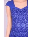 Rochie albastra cu model brodat  - 5