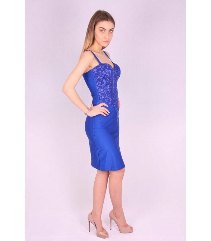 Rochie albastra mulata cu bust buretat  - 1