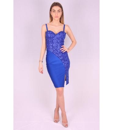 Rochie albastra mulata cu bust buretat  - 2