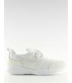Adidasi albi din material textil si piele ecologica  - 2