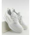 Adidasi albi din material textil si piele ecologica  - 4