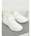 Adidasi din material textil elastic alb cu talpa groasa  - 3