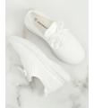 Adidasi din material textil elastic alb cu talpa groasa  - 4