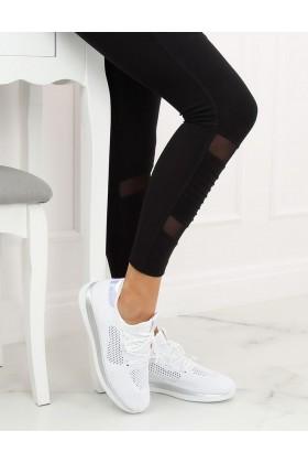 Adidasi din material textil alb, cu detalii multicolore  - 1